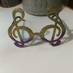 Treble Clef Mardi Gras Glasses